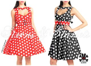 Hell Bunny Sweetheart Vtg 50s Red Polka Dot Dress