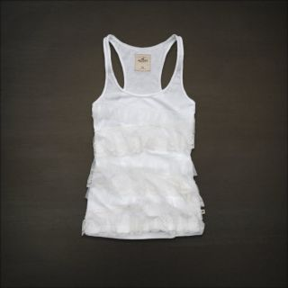 Hollister Abercrombie Women White Floral Lace Tank Top Cami Shirt Medium