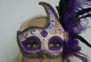 Venetian Party Mask Beautiful Feather Costume Masquerade Moon Goddess Eye Mask