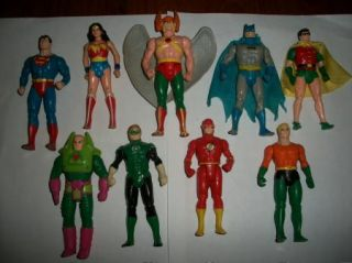 Vintage 1984 Kenner Super Powers Action Figure Lot Batman Robin Flash Aquaman