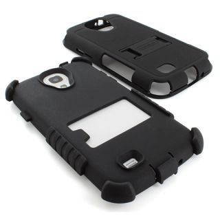 Black Tri Shield Heavy Duty Hybrid Hard Case Cover Samsung Galaxy S4 SIV s IV
