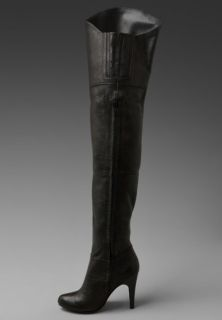 Report New Natasha Black Leather Stretch Thigh High Over Knee Women Boots 6 $242