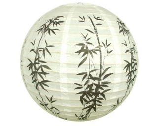 "Bamboo 12"" Round Oriental Paper Lantern Decor Wedding Party Chinese Japanese"