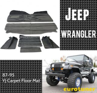 87 95 Jeep Wrangler YJ Carpet Floor Mat Full Set Heel Pad Grey