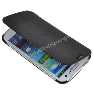 Black Flip Back Leather Case Cover for Samsung Galaxy S3 SIII I9300