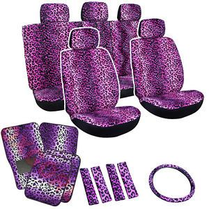 15pc Set Seat Cover Purple Leopard Cheetah Animal Floor Mat Wheel Belt Head Pads