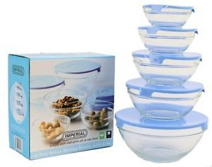 5 PC Healthy Glass Food Storage Container Mixing Bowl Set with Blue Lids