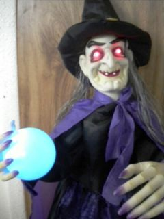 Animated Talking Witch Halloween Figure Prop Crystal Ball Lites Fortune Teller