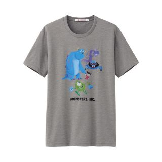 UNIQLO x Pixar Short Sleeve T Shirt Monsters Inc Characters Gray