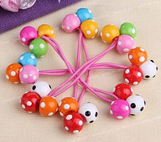 4 Dots Plastic Balls Girls Hair Tie Band Ponytail Holder