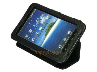 "Leather Magnetic Closure Case Stand for Samsung Galaxy Tab 7"" P1000 Tablet Black"