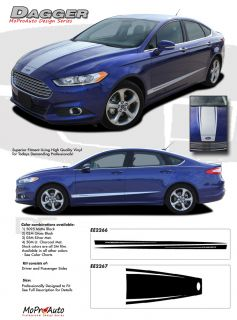 2014 Ford Fusion Dagger Pro Grade 3M Vinyl Side Hood Stripes Decals Graphics P1Q