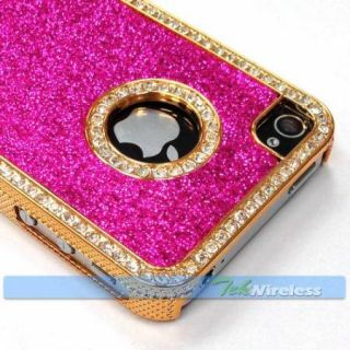 Hot Pink Glitter Sparkles Bling Diamond Rhinestone Gold Hard Case iPhone 4 4S