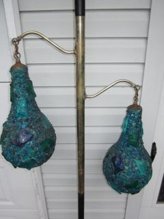 Vintage Tension Pole Lamp Chunky Blue Lava Rock Shade Globes Mid Century Modern