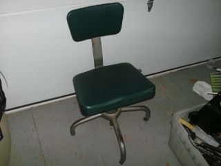 Vintage Steampunk Industrial Green Metal Office Chair Factory Machine Age