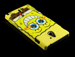 For Sony Ericsson Xperia Sola MT27i Cute Spongebob Hard Back Case Cover Pouch