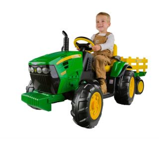 New Peg Perego John Deere Tractor Trailer Battery RideOn Kid Drive Farm Toy Kids
