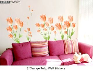 Pink Orange Tulip Flower Removable Wall Stickers Art Decor Decals Home DIY B01