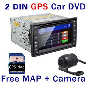 Double 2 DIN Head Unit Car DVD Player GPS Navigation CD Stereo Radio Back Camera
