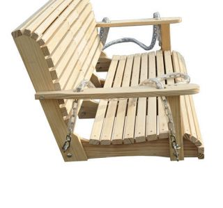 Pine Wood Swing Chair Bench Swinging Sofa Love Seat w Fold Down Table Natural