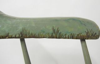 Incredible Antique C 1910 Folk Art Painted Childs Rocking Chair Plank Bottom Yqz