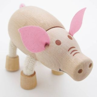 3D Portable Wooden  Animals Wood Figures Baby Kids Toys Pig