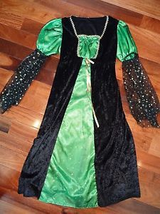 Rubies Child Large 10 12 Black Green Witch Gothic Princess Renaissance Costume