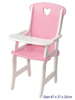 WOW Wooden Baby Doll High Chair Kids Pretend Play Toy
