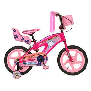 Kids Girls Pink 16 inch Stinky Kids Training Wheels Ride on Toy Bike Bicycle