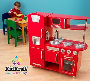 New KidKraft Huge Vintage Red Retro Kids Pretend Play Kitchen Toy Playset