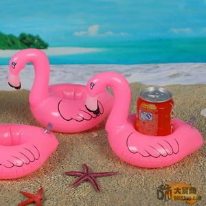 1x Inflatable Flamingo Beach Pool Swimming Party Kid Gift Animal Toy Cup Holder