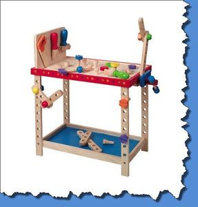 Kids Boys Wooden Childrens Pretend Toy Wood Project Work Bench Shop Work Station