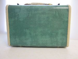 Vintage Samsonite Mini Train Case Suitcase Marble Turquoise Blue Hard Sided