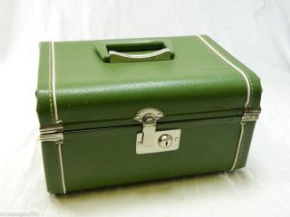 Green Hard Shell Sided Travel Case Luggage Train Retro Vintage Vanity Mirror Box