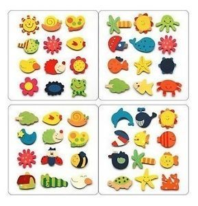 12 Pcs Mixed Wood Cartoon Fridge Magnets Kids Education Toy Home Ornaments