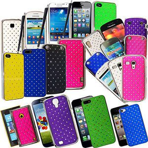 Diamond Hard Back Shell Chrome Sided Case Cover for Various Phones Guard Stylus