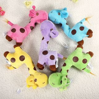 Baby Kid Children Colorful Soft Plush Dear Giraffes Animal Stuffed Doll Toy Gift