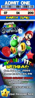 Super Mario Bros Galaxy Kart Birthday Party Invitations VIP PASSES and Favors