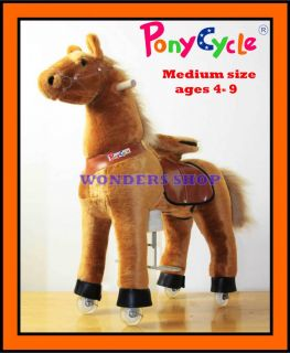 Med Light Brown Ride on Horse Ponycycle Really Walking Pony Toy Kids 4 9 Years