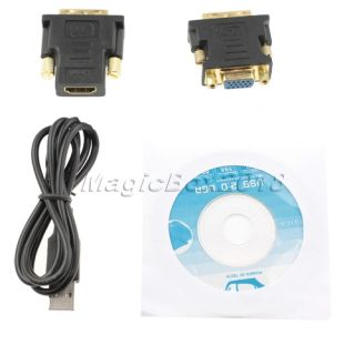 USB to HDMI DVI VGA Multi Display Adapter Converter