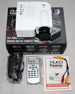 "Portable Mini White LED Digital HDMI Projector Media Player Up to 67 "" Display"
