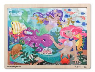 Kids Wooden Jigsaw Puzzles New Melissa Doug Mermaids Fantasea Ocean 48 Piece