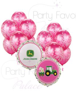 Pink John Deere Happy Birthday Party Balloon Bouquet Girl Pink Flowers