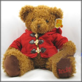 "Super Cute Red Coat Teddy Bear Plush Toy Doll 25""H"
