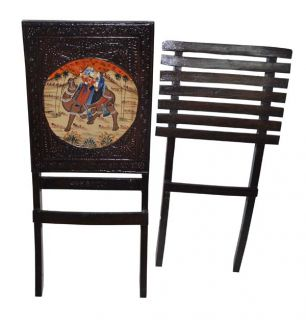 Indian Antique Wooden Chair Camel Hand Painted Decorative Folding Chairs Vintage