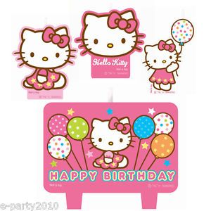 4pc Hello Kitty Wilton Cake Candle Set Birthday Party Supplies Decoration