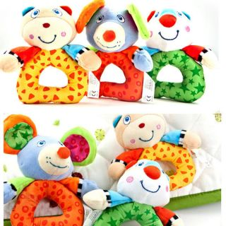 Soft Hand Bell Rattle Handbell Animal Plush Toy Cartoon Baby Kid Educational