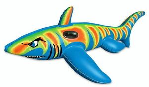 New Inflatable Jumbo Shark SUPERSIZE Raft Rider Pool Float Kids Toy