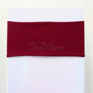 Dark Red Stretch Lycra Stretch Chair Cover Bands Replace Chair Sash Bow Wedding