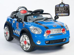 Double Engine Kids Ride on Power Mini Cooper Style Blue Car Remote Control Blue